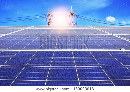 Solar panels of dirt with the blue sky .