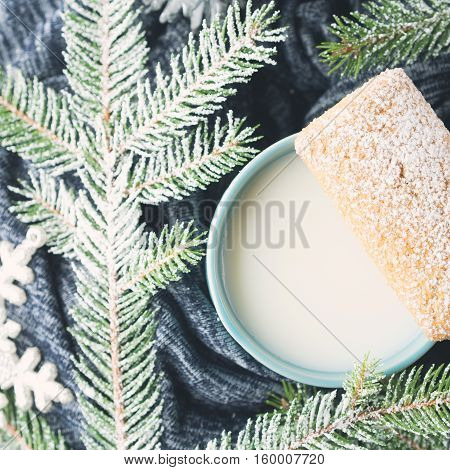 Milk And Cookies For Santa. Top View Square