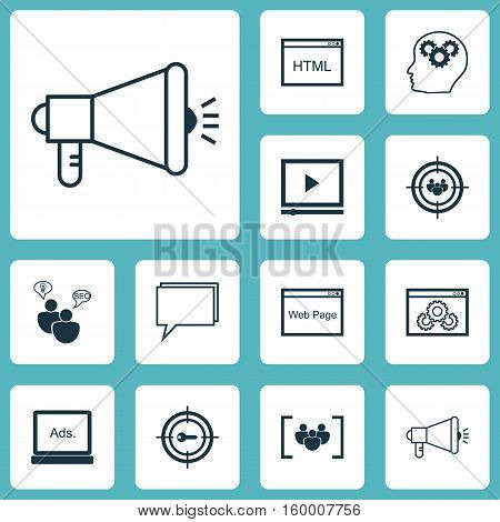Set Of 12 Advertising Icons. Can Be Used For Web, Mobile, UI And Infographic Design. Includes Elements Such As SEO, HTML, Plan And More.