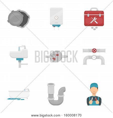 Plumbing set icons in cartoon style. Big collection of plumbing vector symbol stock