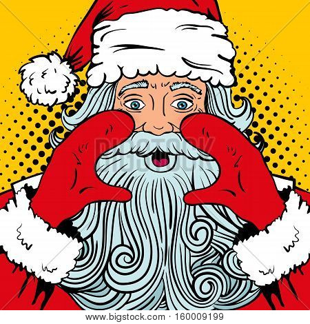 Wow pop art Santa Claus with surprised face wide open eyes and mouth and rising hands screaming. Vector illustration in retro pop art comic style. Christmas party invitation.