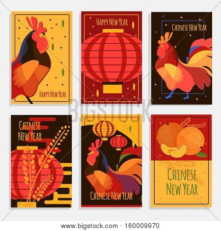 Chinese new year greeting cards. Cards and banners set with rooster chinese lantern and mandarin. New year 2017 concept cards.