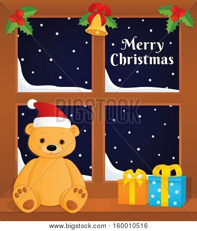 Vector colorful illustration of a window decorated with holly berries and jingle bell. Brown teddy bear in a Santa hat sitting on the sill next to gift boxes. Text