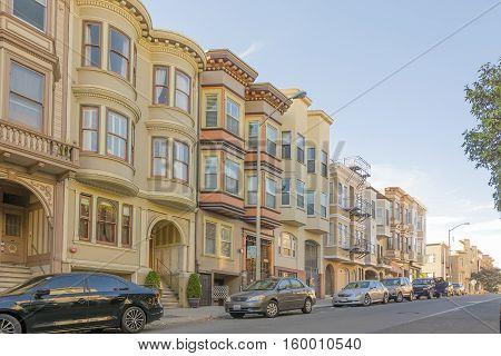 San Francisco CA USA october 23 2016: row of apartments in San Francisco