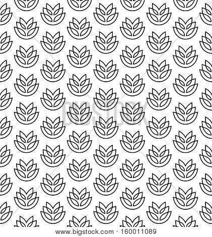 Wheat ears seamless pattern. Stylized elegant linear ears black on white color.