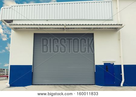 An industrial design for shutter door Warehouse shutter door Entrance of storage warehouse.