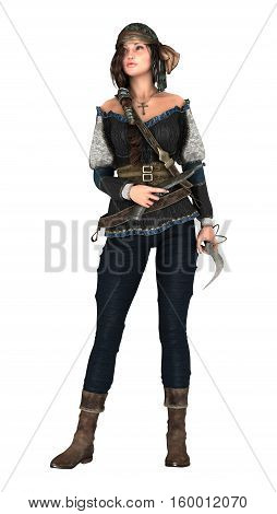 3D Rendering Pirate Woman On White