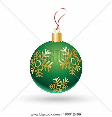 Christmas ball green color decorated with gold snowflakes isolated on white background. Illustration for Merry Christmas and New Year Holiday greeting card.