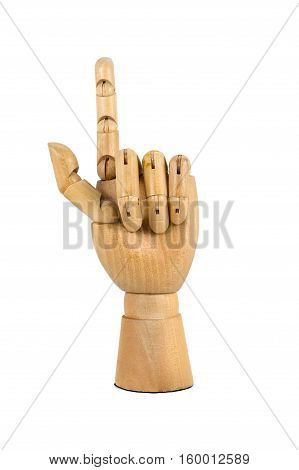 wooden hand wagging finger isolated on white background