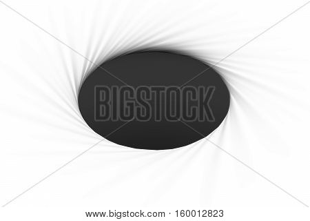 black hole on a white background 3d illustration