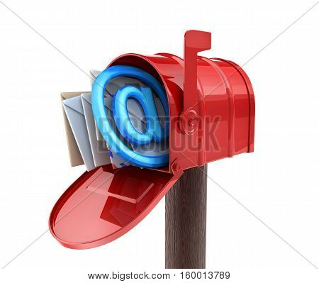 Abstract E-mail and Red mailbox. 3d illustration
