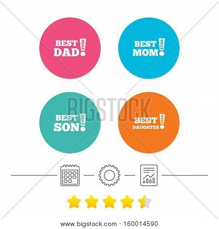 Best mom and dad, son and daughter icons. Awards with exclamation mark symbols. Calendar, cogwheel and report linear icons. Star vote ranking. Vector