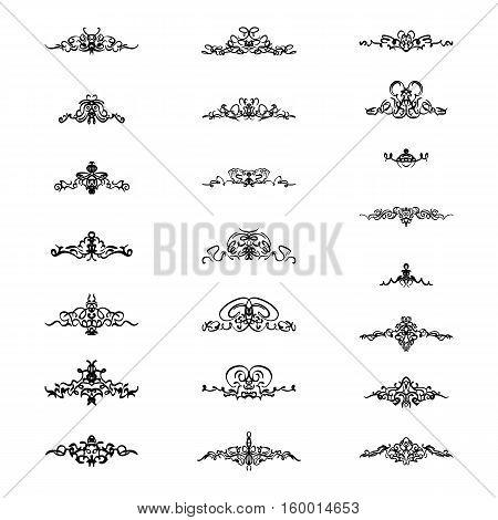 Vintage decor elements and wicker vector lines. Decoration of logos, page, wedding album, menu. Flourish set elegant contour. Classic ornamental motif. Calligraphic design elements. Medieval swirl