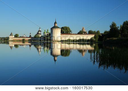 Kirillo-Belozersky monastery on the shore of Siverskoye lake in the town of Kirillov.