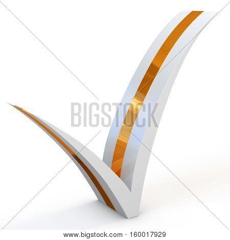 3D White With Golden Stripe Check Mark
