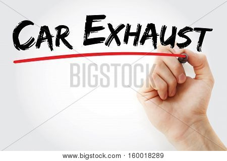 Hand Writing Car Exhaust With Marker