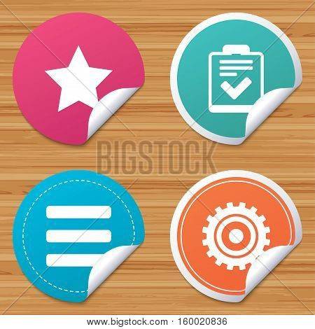 Round stickers or website banners. Star favorite and menu list icons. Checklist and cogwheel gear sign symbols. Circle badges with bended corner. Vector
