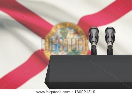 Pulpit And Two Microphones With Usa State Flag On Background - Florida