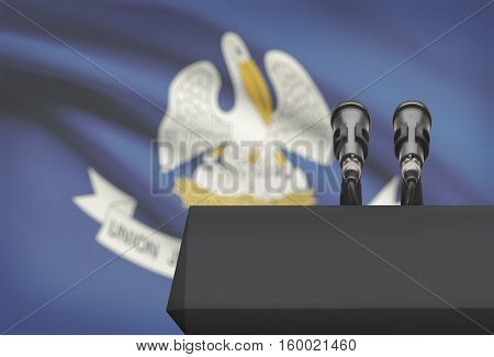 Pulpit And Two Microphones With Usa State Flag On Background - Louisiana