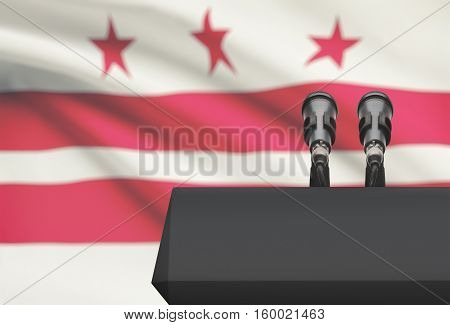 Pulpit And Two Microphones With Usa State Flag On Background - District Of Columbia
