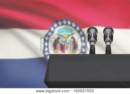 Pulpit And Two Microphones With Usa State Flag On Background - Missouri