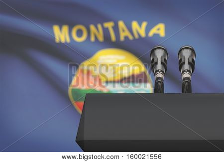 Pulpit And Two Microphones With Usa State Flag On Background - Montana
