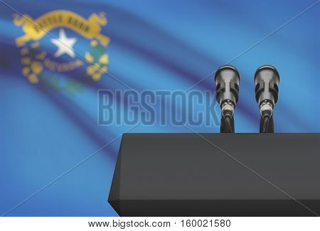 Pulpit And Two Microphones With Usa State Flag On Background - Nevada