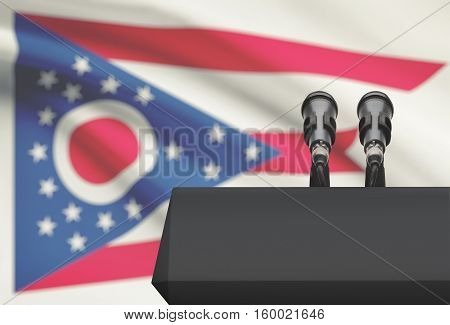 Pulpit And Two Microphones With Usa State Flag On Background - Ohio