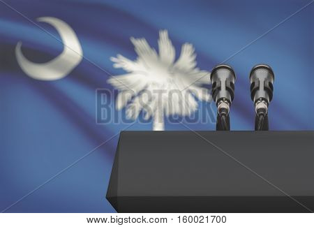 Pulpit And Two Microphones With Usa State Flag On Background - South Carolina