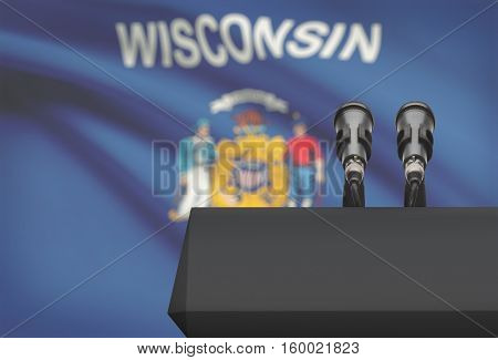 Pulpit And Two Microphones With Usa State Flag On Background - Wisconsin
