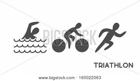 Black logo triathlon. Figures triathletes on white background. Swimming cycling and running symbol.