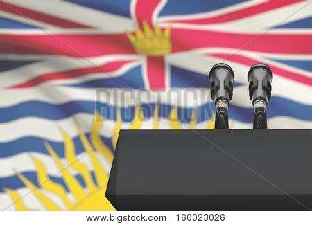 Pulpit And Two Microphones With Canadian Province Flag On Background - British Columbia