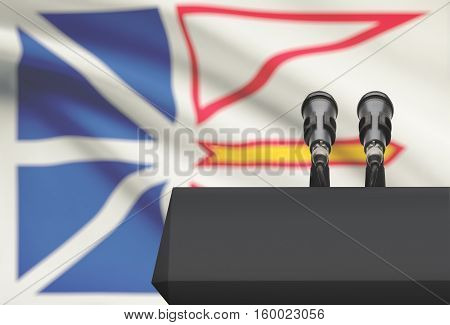Pulpit And Two Microphones With Canadian Province Flag On Background - Newfoundland And Labrador