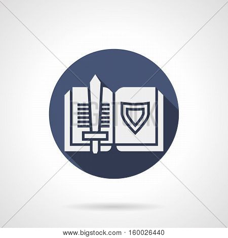 White silhouette sign of open book with symbols of medieval armor - sword and shield. Reading about knights. Historical literature - novels, poetry, ballades. Round blue flat design vector icon.