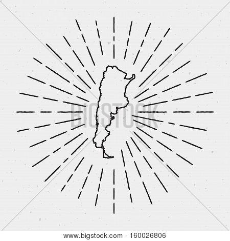 Vector Argentina Map Outline Retro Vector Photo Bigstock - Argentina map outline