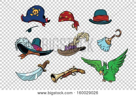 pirate set of knives and hats. Pop art retro illustration. Parrot