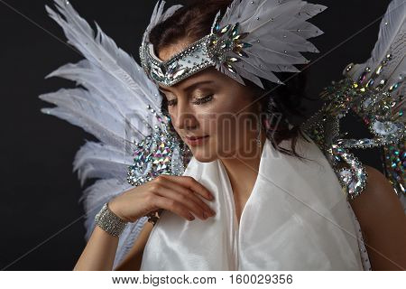 Young Beautiful Woman In Angel Costume With Wings, Natural Feathers