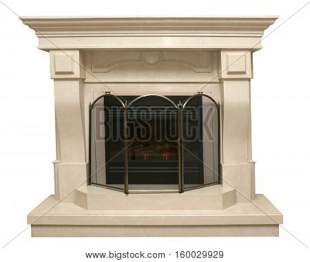 beige fireplace made of artificial stone isolated on white background