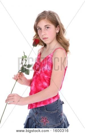 Young Girl In Demin Skirt With Rose (Bl)