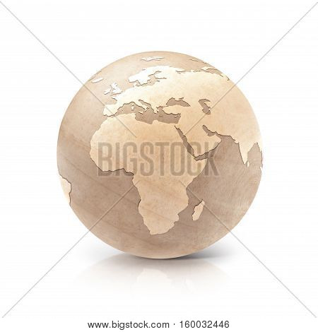 Wood globe 3D illustration europe and africa map on white background