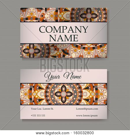Vector template business card. Geometric background. Card or invitation collection. Islam Arabic Indian ottoman motifs.