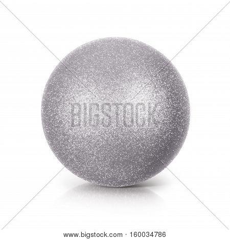 Silver Glitter ball 3D illustration on white background