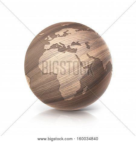 oak wood globe 3D illustration europe and africa map on white background