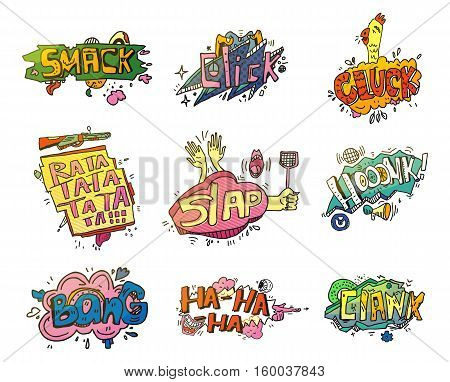 Comic speech bubbles for sound exclamation. Set of onomatopoeia elements for smash and laugh, swatter bubble and shooting, clank speech. For comic book speech bubble or comic explosion