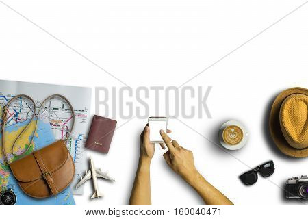 poster of Concept Of Hipster Travel Traveler Travelling And Shopping On White Table Background.copy Space