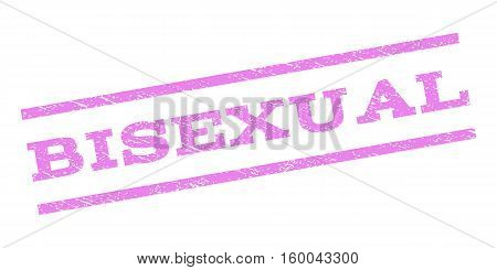 Bisexual watermark stamp. Text caption between parallel lines with grunge design style. Rubber seal stamp with scratched texture. Vector violet color ink imprint on a white background.