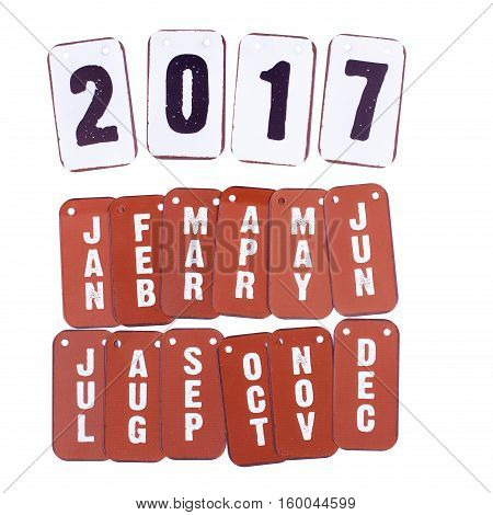 2017 date and 12 months calendar symbols Isolated on a white background.