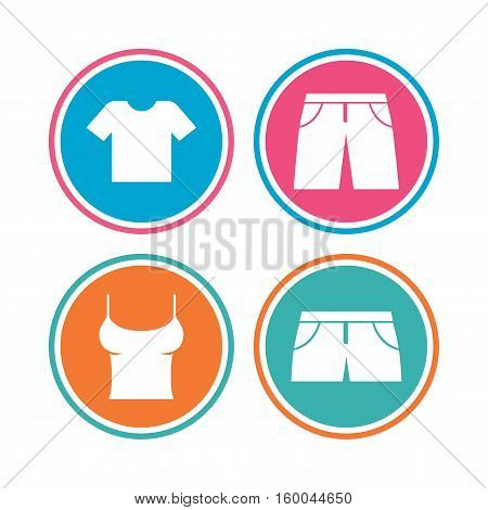 Clothes icons. T-shirt and pants with shorts signs. Swimming trunks symbol. Colored circle buttons. Vector
