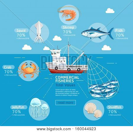 Commercial fishing business plan infographics. Fishing boat jellyfish shellfish fish squid crab tuna and prawn. Vector Illustrations. Can be used for workflow layout banner diagram number options step up options web design.