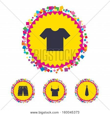 Web buttons with confetti pieces. Clothes icons. T-shirt and bermuda shorts signs. Business tie symbol. Bright stylish design. Vector